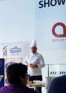 """Lo chef A. Fusco del risotrante """"Giuda Ballerino"""" di Roma ll'AMI Expò"""